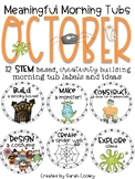 Meaningful Morning Tubs:  October STEM Based Ideas
