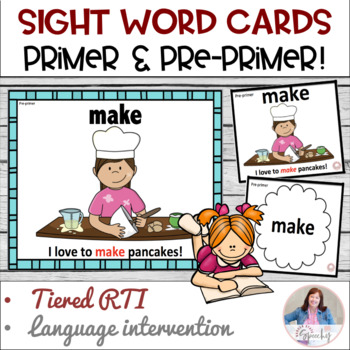 Dolch Sight Word Card for RTI:  Meaningful Pictures!