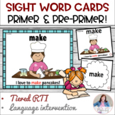 Sight Word Cards with Pictures:  Dolch Pre-primer and Primer