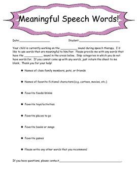 Meaningful Speech Parent Questionnaire