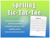 Meaningful Spelling Tic-Tac-Toe *Fully Editable