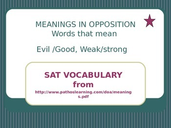 Meanings in Oppostition Flash Cards