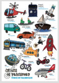 Means of transport Spanish / English language poster