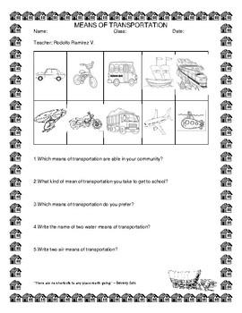 Means of transportation practice sheet