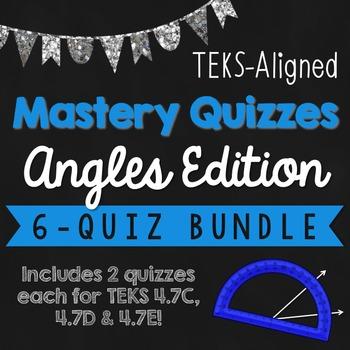 *STAAR READY* Measure Angles TEKS Mastery Quiz BUNDLE! {TEKS 4.7C, 4.7D, 4.7E}