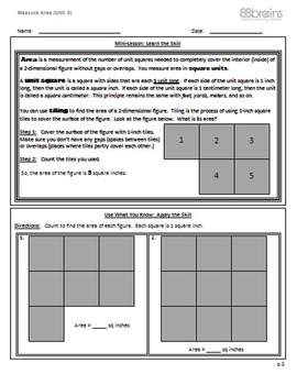 Measure Area pgs. 3 - 5 (Common Core)
