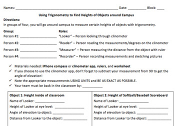 Measure Objects Using Trig - Clinometer Activity