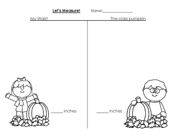 Measure Your Class Pumpkin and Compare to Something in Your Classroom T-Chart