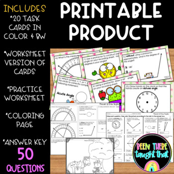 4.MD.5 & MD.6 Measure & Construct Angles Task Cards, Worksheets & Coloring Page