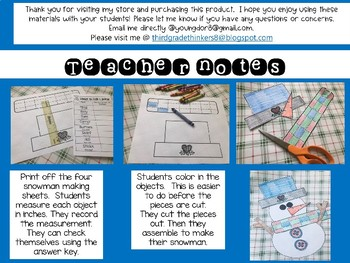 Measure and Make a Snow Day Friend: Using an Inch Ruler