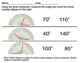 Measure and circle angles of specific measurments