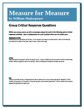 Measure for Measure - Shakespeare - Group Critical Response Questions