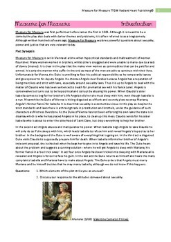 Measure for Measure Shakespeare - Teacher Text Guide & Worksheets VCE ENGLISH
