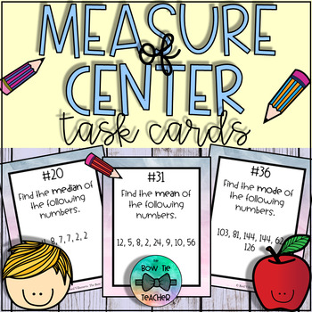 Measure of Center: Mean, Median, & Mode Task Cards