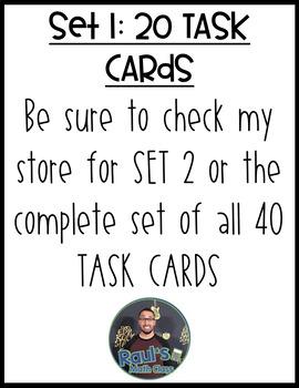 Measure of Center: Mean, Median, & Mode Task Cards (Set 1)