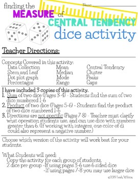 Measure of Central Tendency - Dice Activity