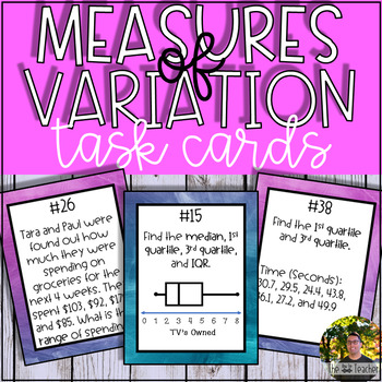 Measure of Variation: Range, Quartiles, & Interquartile Range Task Cards