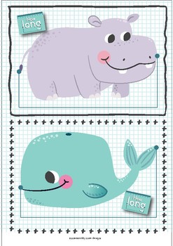 Measure the Animal Cards, Set of 50 cards and 3 rulers Pages, Cute Animals, Leng