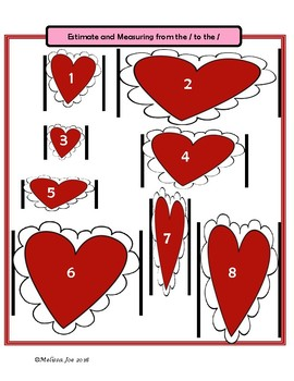Free Measuring -A no prep measuring center with cm and inches Valentine Theme