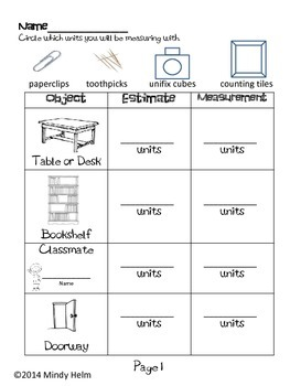 Measure the Room ~ An Activity Using Non-Standard Units of Measurement