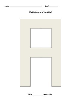 Measure the area of the shape with square tiles: Alphabet