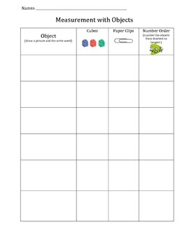 Measure with cubes and paper clips chart