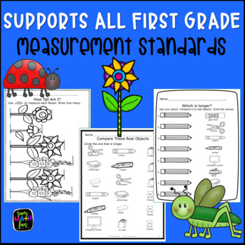 Measurement Worksheets: First Grade No Prep Printables || Distance Learning