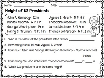 President's Day Math Activity