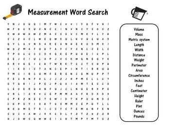 Measurement Word Search | Measuring Activity | Measurement Activity