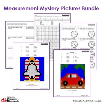 3rd Grade Measurement Unit, With Word Problems, Worksheets, Coloring Pages