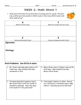 Measurement 4th-5th Grade Math Homework Part 1
