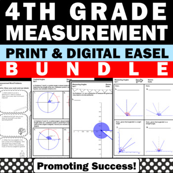 Measurement Activities BUNDLE Common Core Math Assessment 4th Grade Review