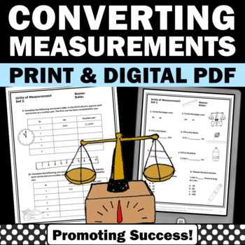 Measurement Conversions 4th Grade Math Review Worksheets, Measuring