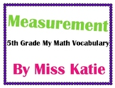 Measurement 5th Grade My Math Vocabulary