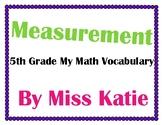 Measurement 5th Grade My Math Vocabulary