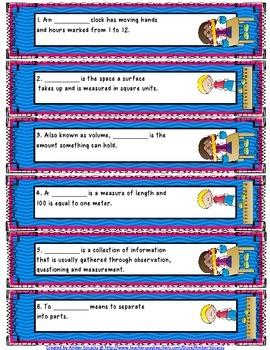 Measurement Academic Vocabulary Fiddle Strips!