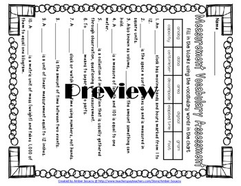 Measurement Academic Vocabulary Practice and Assessments for 3rd Grade