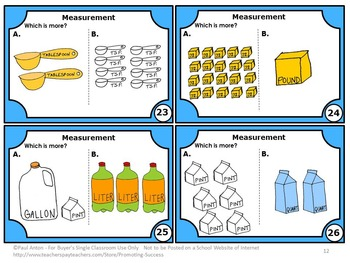 Measurement Task Cards Standard and Metric, 4th Grade Math Review Game SCOOT