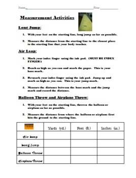Measurement Activities and Center Directions