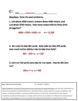 4.MD.A.2 Measurement And Data Word Problems 4th Grade Common Core Math Sheets