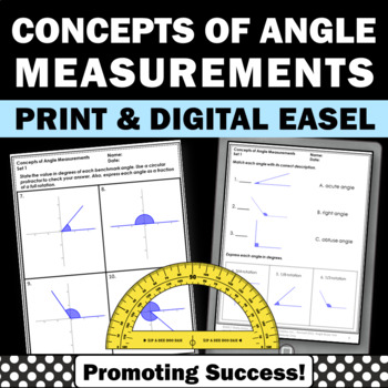 Angles Review, Measurement Worksheets