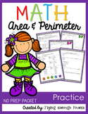 Measurement {Area & Perimeter Practice} NO PREP PACKET