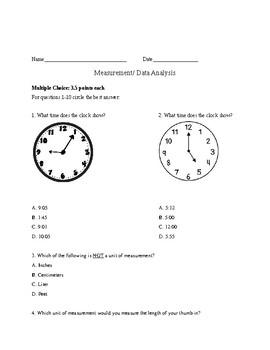 Measurement Assessment 2nd Grade