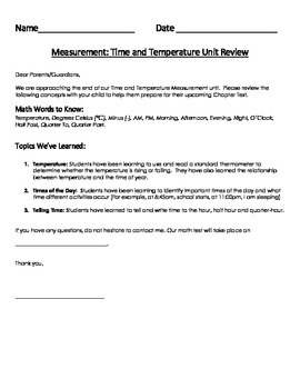 Measurement Assessment: Time and Temperature