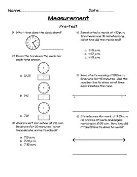 Measurement Assessment Unit (for use with Magic of Math 3rd Grade)