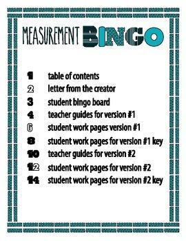 Measurement BINGO Pack