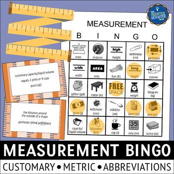 Customary and Metric Measurement Bingo