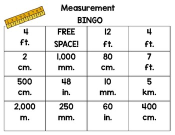 Measurement Bingo - Customary and Metric Length