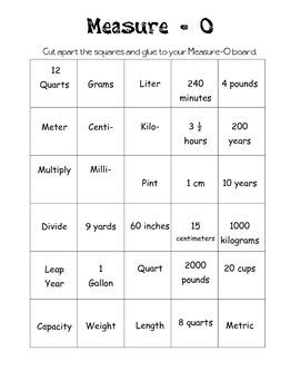 Measurement Bingo... Measure-O!!