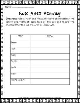 Measurement {Box Activity} Metric Units Math Center